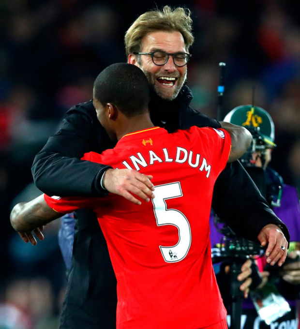 Liverpool manager Jurgen Klopp celebrates with goalscorer Georginio Wijnaldum after Saturday evening's win over Manchester City at Anfield