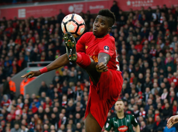 Liverpool youngster Sheyi Ojo attempts to control the ball in the FA Cup clash at Anfield