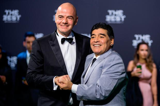 FIFA's Gianni Infantino and Diego Maradona (r). Pic: Getty Images