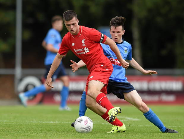 Alex O'Hanlon in action for Liverpool against UCD in Belfield. Pic: Sportsfile