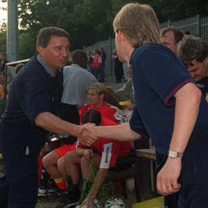 Graham Taylor, in his role as manager of Watford, pictured shaking hands with St Pat's boss Liam Buckley before a friendly at Richmond Park, Inchicore in July 1999