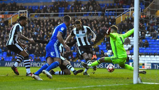 Newcastle player Daryl Murphy in action during last weekend's FA Cup third round draw with Birmingham City at St Andrew's