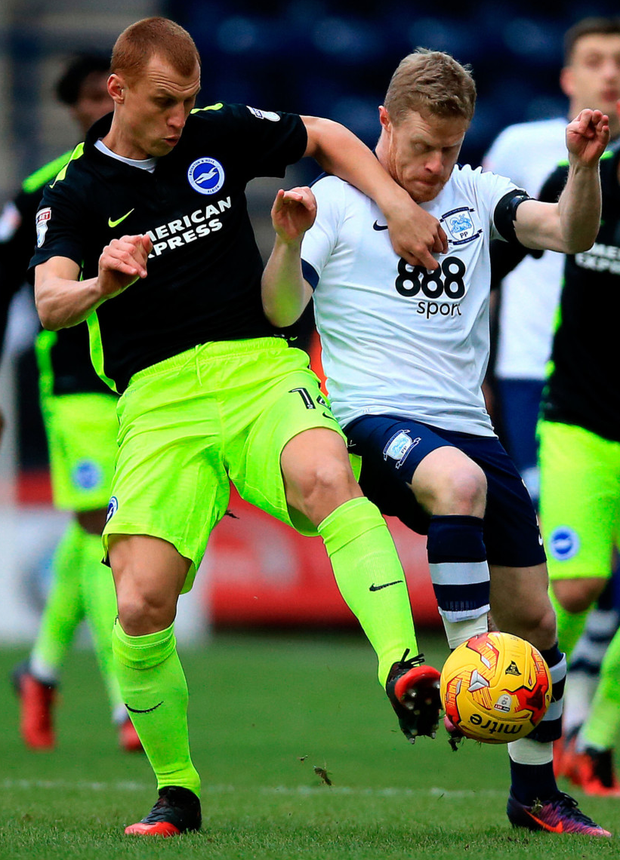 Preston's Daryl Horgan in action (r) against Brighton's Steve Sidwell