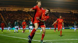 Lucas Leiva celebrates his first goal for Liverpool since October 2010 in the FA Cup third round replay win over Plymouth Argyle last night. Photo: Reuters
