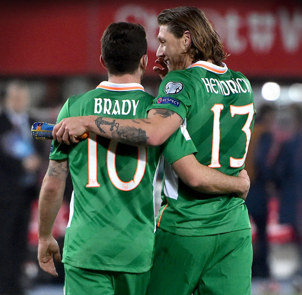 Ireland teammates Robbie Brady and Jeff Hendrick have been friends since childhood and could be playing together at Burnley soon. Photo: David Maher/Sportsfile