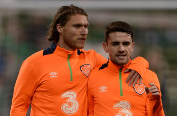 Ireland team-mates and childhood friends Jeff Hendrick and Robbie Brady may be reunited at Burnley if a bid for the Norwich City midfielder is successful Picture: Sportsfile