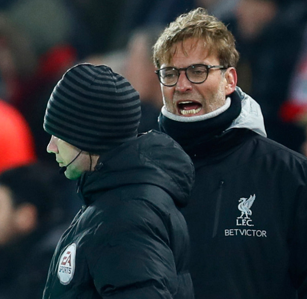 A frustrated Jurgen Klopp argues with the fourth official during last night's defeat
