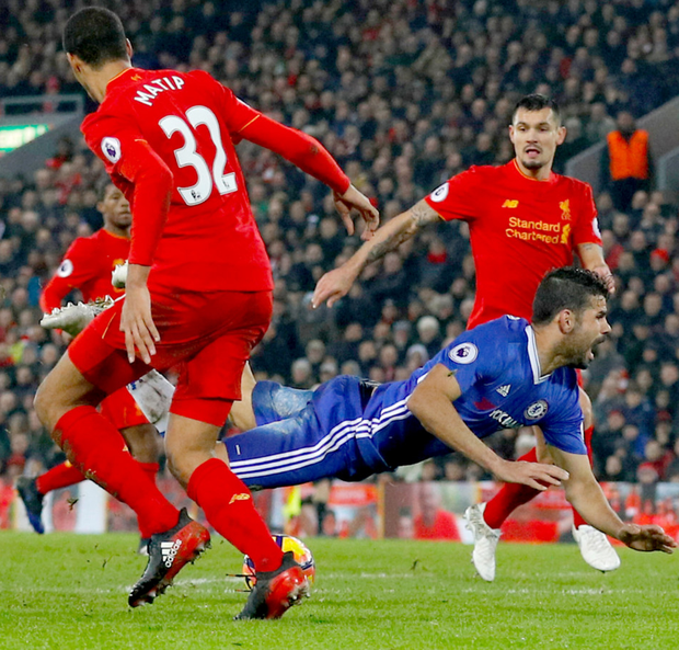 Chelsea's Diego Costa goes to ground after clashing with Joel Matip resulting in a penalty (which he missed) at Anfield last night.