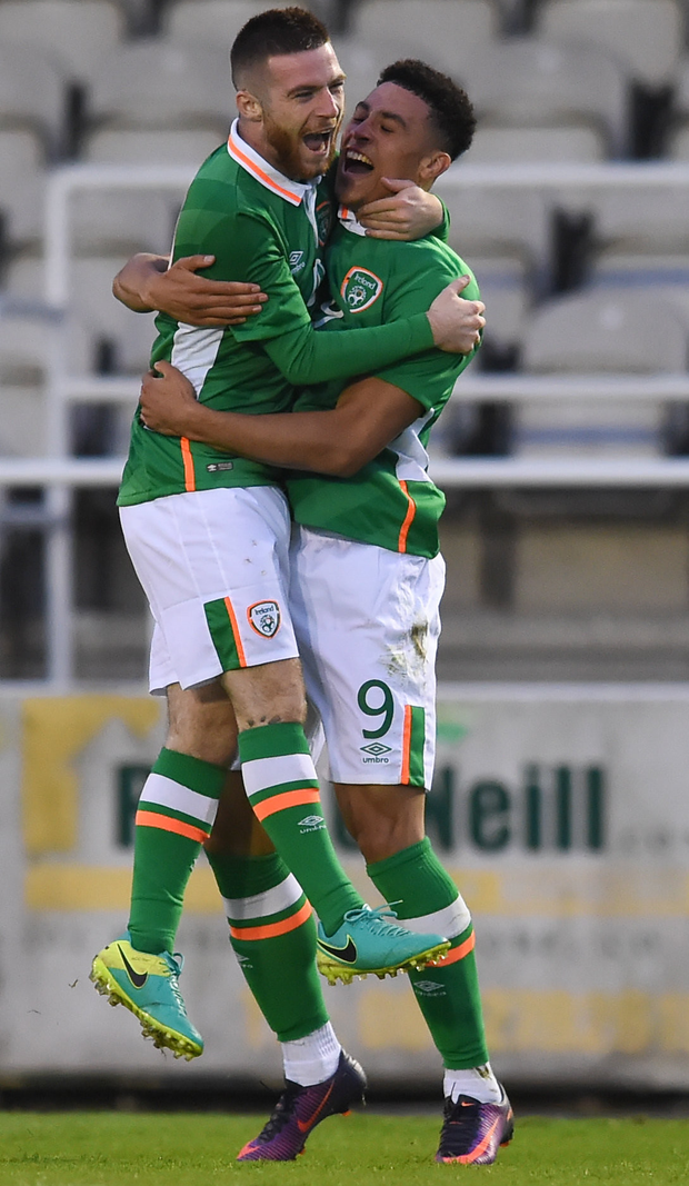 Rep of Ireland U21 duo Courtney Duffus, right, and Jack Byrne celebrate a goal during the UEFA U21 Championship qualifier against Serbia at the RSC, Waterford last October