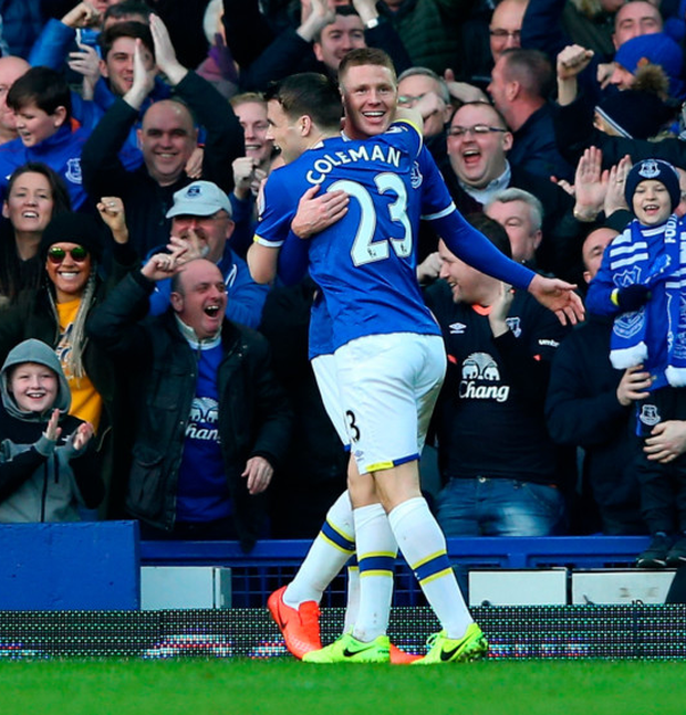 Seamus Coleman congratulates his Irish team-mate James McCarthy on scoring Everton's second goal in the 6-3 win over Bournemouth on Saturday Picture: Getty
