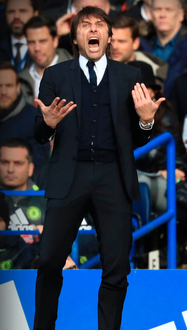 Antonio Conte's fierce will to win has turned Chelsea into the runaway favourites in the Premier League this season. Photo: John Walton/PA Wire