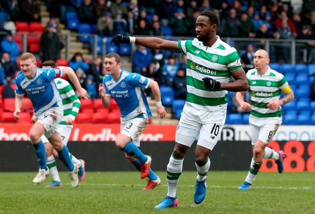Celtic striker Moussa Dembele scores the first of his three goals against St Johnstone last Sunday from the penalty spot. Photo: Jane Barlow/PA Wire
