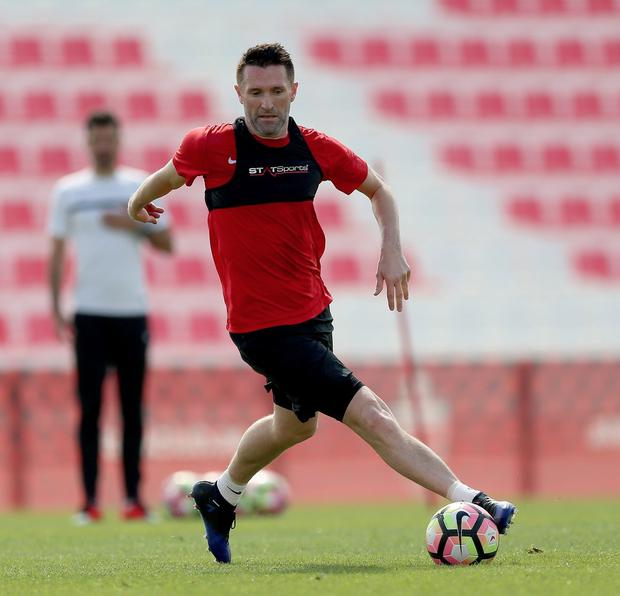 Robbie Keane is pictured in training for Dubai team Al Ahli recently