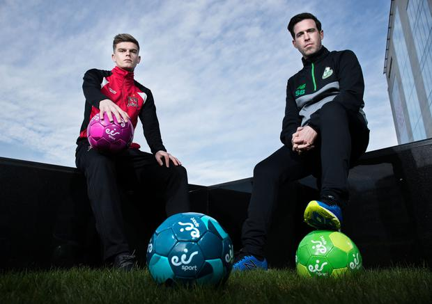 Dundalk's Seán Gannon (left) and Shamrock Rovers manager Stephen Bradley at eir Sport's announcement of exclusively live coverage of the match between Dundalk and Rovers on the opening weekend of the SSE Airtricity League. Pic: Inpho