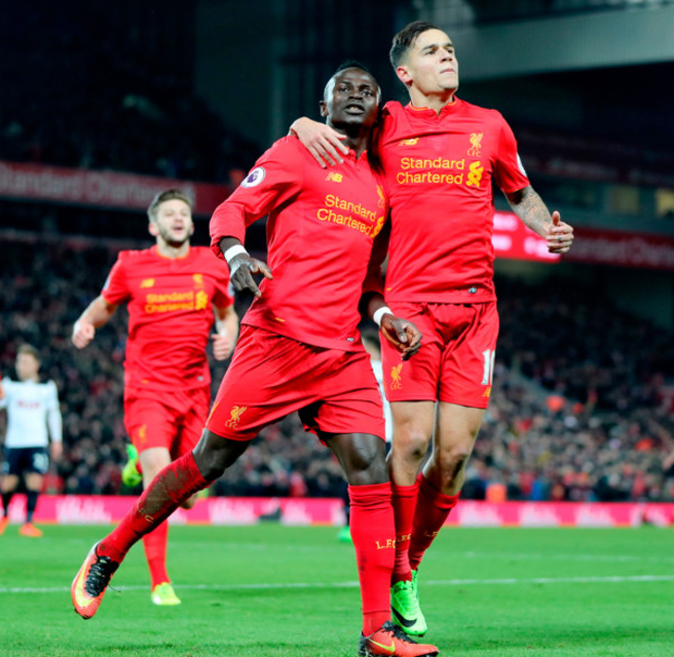 Liverpool's Sadio Mane celebrates scoring his side's second goal. Photo: Peter Byrne/PA
