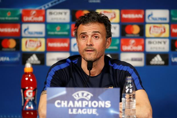 Barcelona head coach Luis Enrique speaks at a press conference ahead of tonight's clash with PSG