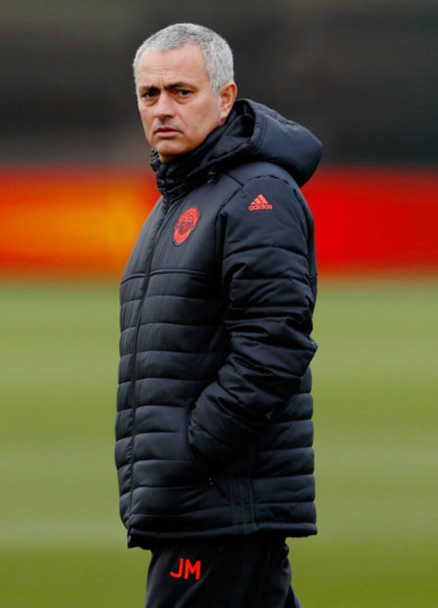 Manchester United manager Jose Mourinho is pictured at training ahead of tonight's Europa League clash with St Etienne.