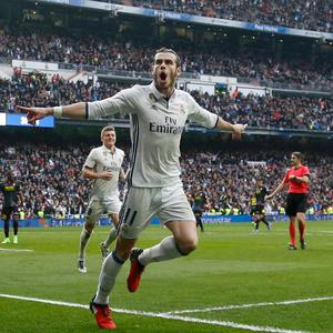 Real Madrid's Gareth Bale celebrates after scoring against Espanyol on his return from injury. Pic: Reuters