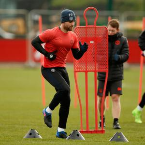 Luke Shaw in training