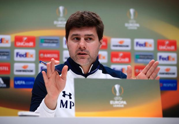 Tottenham Hotspur boss Mauricio Pochettino is pictured at a press conference ahead of tonight's Europa League clash with Gent at Wembley.