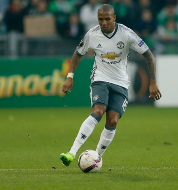 Ashley Young, pictured in action against St Etienne on Wednesday during the Europa League last 32 second leg tie. Pic: Reuters