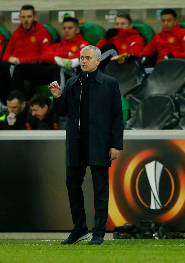 Jose Mourinho will turn his attentions to Sunday's League Cup final clash with Souithampton at Wembley after progressing to the last 16 of the Europa League. Photo: Reuters