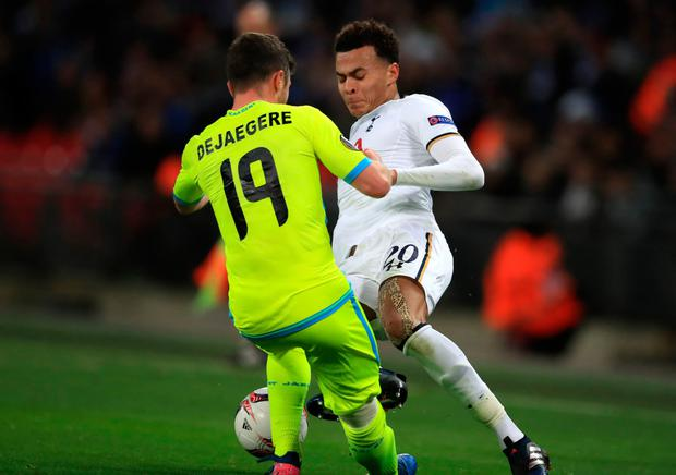 Dele Alli apologised to team-mates and Gent midfielder Brecht Dejaegere for his reckless tackle as 10-man Tottenham crashed out of the Europa League. Photo: Mike Egerton/PA Wire