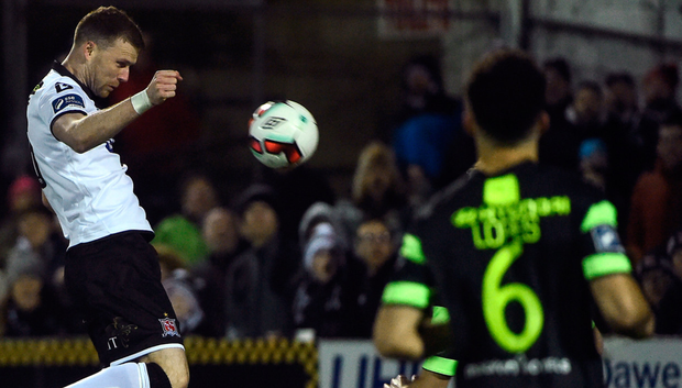 Striker Ciaran Kilduff scores Dundalk's second goal Photo: Sportsfile