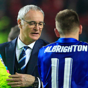 Former Leicester manager Claudio Ranieri with Marc Albrighton