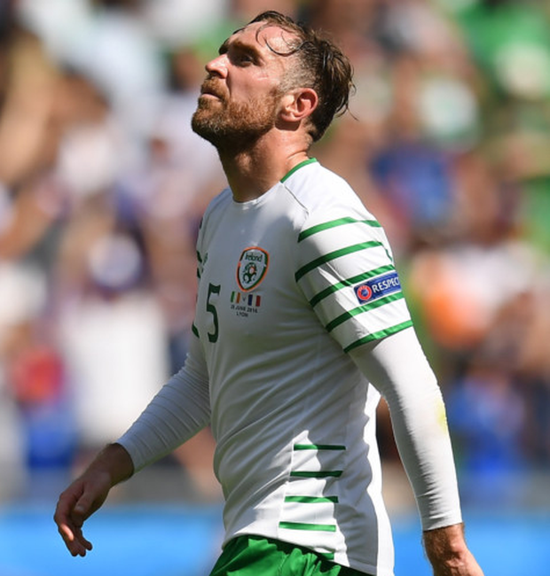 Richard Keogh (p) is almost certain to partner Ciaran Clark in the centre of Ireland's defence for the World Cup qualifier against Wales this month after Shane Duffy picked up an injury last weekend. Photo: Sportsfile