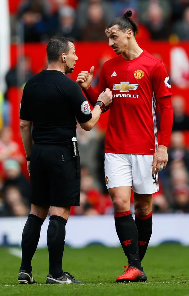 Manchester United striker Zlatan Ibrahimovic remonstrates with referee Kevin Friend last Saturday Picture: Reuters