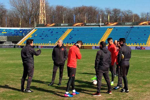 Manchester United boss Jose Mourinho and his players inspect the Rostov pitch yesterday Picture: PA