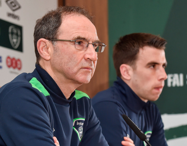 Republic of Ireland manager Martin O'Neill and captain Seamus Coleman during a press conference at the FAI National Training Centre in Abbotstown