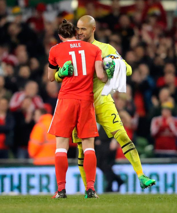 Wales' Gareth Bale and Republic of Ireland's Darren Randolph after the 2018 FIFA World Cup Qualifying, Group D match at the Aviva Stadium, Dublin. Photo: PA