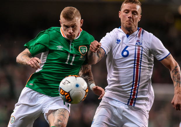 Republic of Ireland's James McClean in action against Iceland's Ragnar Sigurdsson