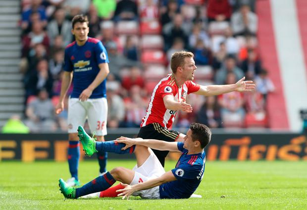 Sunderland's Sebastian Larsson after a challenge on Manchester United's Ander Herrera. Photo: PA