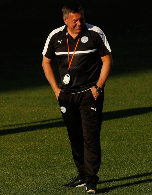Craig Shakespeare at Leicester City training in Madrid