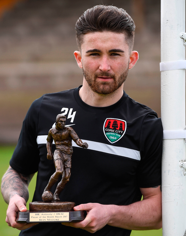 Cork City's Sean Maguire, pictured with his SWAI Player of the Month award for March