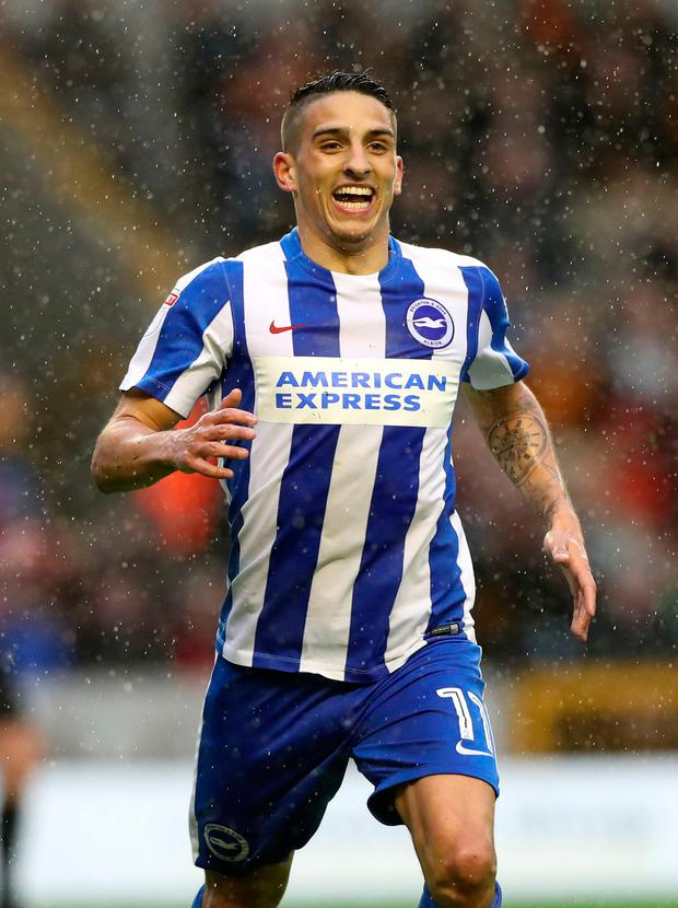 Brighton & Hove Albion's Anthony Knockaert celebrates scoring his side's second goal Photo: PA