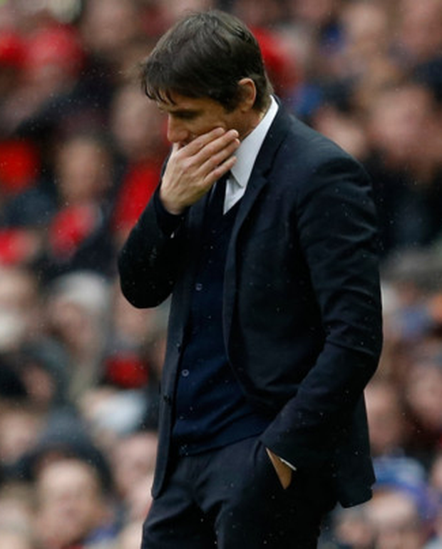 A downbeat Chelsea boss Antonio Conte at Old Trafford. Photo: Reuters