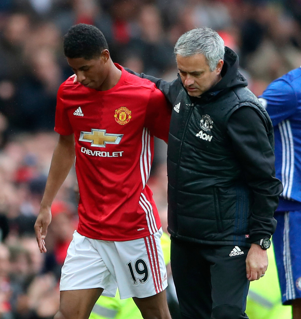 (l-r) Manchester United striker Marcus Rashford is given the seal of approval by manager Jose Mourinho yesterday. Photo: PA