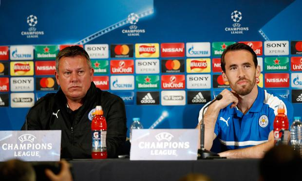 Leicester City manager Craig Shakespeare and defender Christian Fuchs during yesterday's press conference. Photo: REUTERS