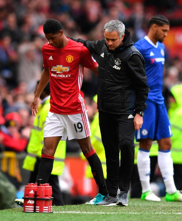 Manchester United manager Jose Mourinho with Marcus Rashford. Photo: Getty