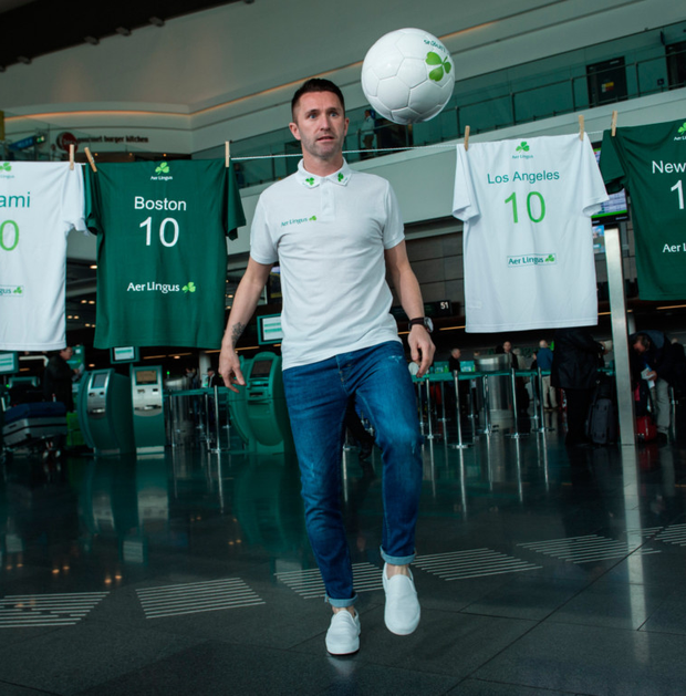 Aer Lingus ambassador, Robbie Keane was at Dublin Airport today to launch Aer Lingus' big North American sale. Photo: Sportsfile