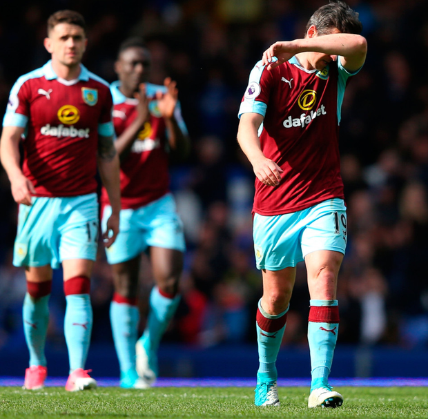 Burnley's Joey Barton (r), pictured alongside Robbie Brady, has been banned for 18 months