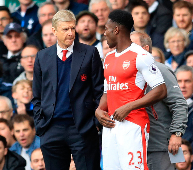 Arsene Wenger with Arsenal's Danny Welbeck. Photo: PA