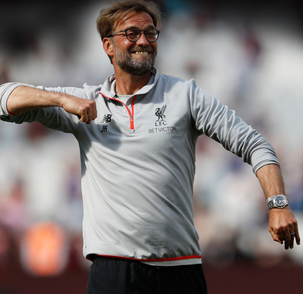 Liverpool manager Jurgen Klopp celebrates after yesterday's victory over West Ham