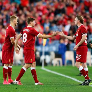 Liverpool's Steven Gerrard is substituted for Steve McManaman during the match against Sydney FC. Photo by Matt King/Getty