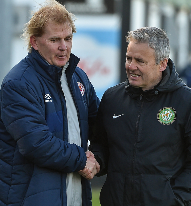 St Pats manager Liam Buckley with Bray Wanderers boss Harry Kenny