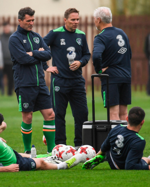 Republic of Ireland assistant manager Roy Keane with the Irish squad during training at Fota Island